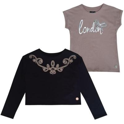 Set Bluza maneca lunga Firetrap . pentru fetite negru roz