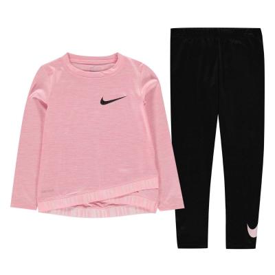 Set Colanti Nike Crossover and Top pentru fete roz negru