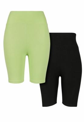 Set de 2 Pantaloni scurti ciclism cu talie inalta pentru Femei verde-negru Urban Classics