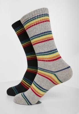Set de 2 Sosete Rainbow Stripes negru-gri Urban Classics