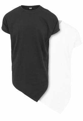 Set de 2 Tricou lung asimetric negru-alb Urban Classics