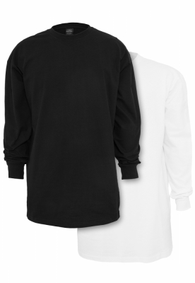 Set de 2 Tricou lung LS black+white Urban Classics negru alb