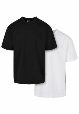 Set de 2 Tricou lung Organic black+white Urban Classics negru alb