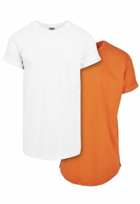 Set de 2 Tricou Pre-. Lung white+mandarin Urban Classics alb portocaliu