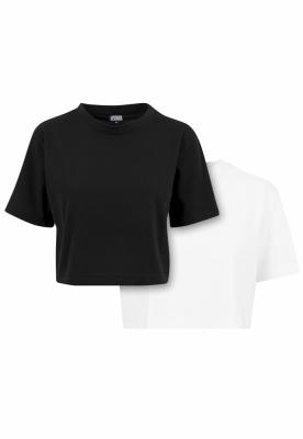 Set de 2 Tricou supradimensionat scurt pentru Femei black+white Urban Classics negru alb