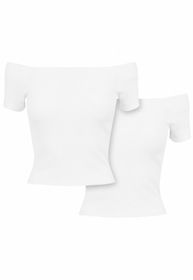 Set de 2 Tricou urban cu umerii goi pentru Femei white+white Urban Classics alb