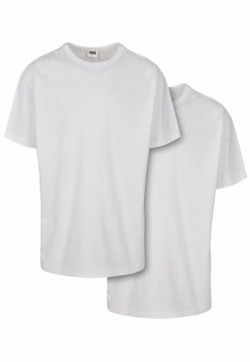 Set de 2 Tricouri simple Organic white+white Urban Classics alb