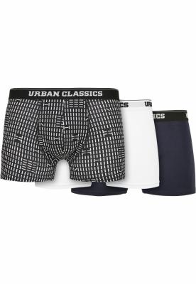 Set de 3 Boxeri Organic minimal-aop+white+navy Urban Classics multicolor alb bleumarin