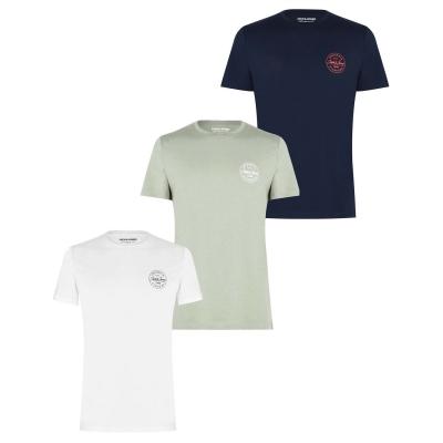 Set de 3 Tricou cu logo Jack and Jones Heritage -Shirts bleumarin khki alb