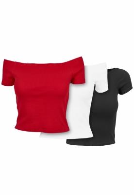 Set de 3 Tricou urban cu umerii goi pentru Femei black+white+fire-rosu Urban Classics negru alb foc
