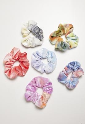 Set de 6 Soft Hair Ties Tie Dye multicolor Urban Classics