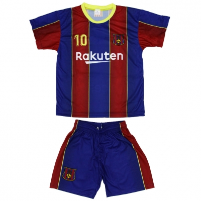 Set fotbal For Replica Messi Barcelona visiniu-albastru 202021 pentru Copii