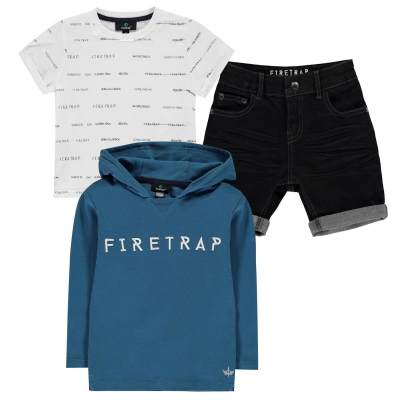 Set Pantaloni scurti Firetrap 3 Piece baietei albastru