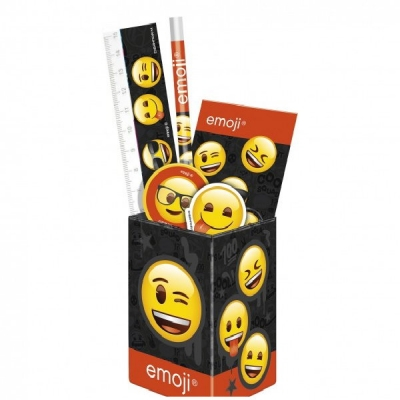 Set Rechizite Cu Suport Pixuri Emoticons