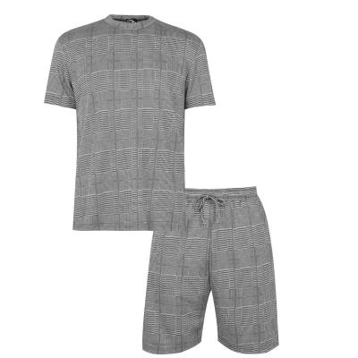 Set Tricou Pantaloni scurti Fabric gri Check and Loungewear Co-Ord carbune