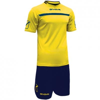 Givova kit echipament fotbal complet One galben-bleumarin
