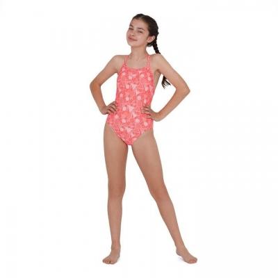 Costum de Inot Speedo Dazzle Print pentru fetite phe rosu roz