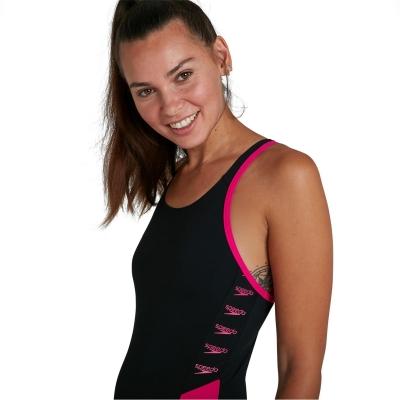 Speedo Splice Logo Muscleback pentru Femei negru elec roz