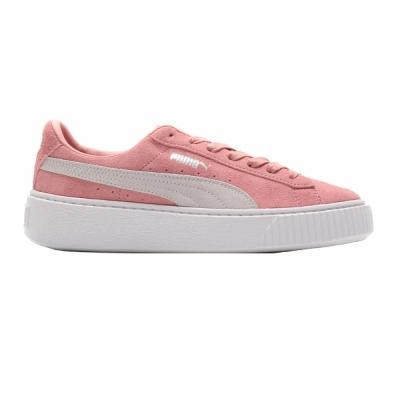 Tenisi femei puma suede platform roz alb