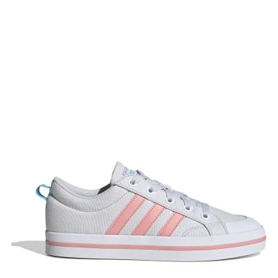 Tenisi panza adidas Bravada pentru fetite gri deschis roz alb