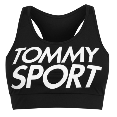 Bustiera sport Tommy Sport Logo pvh negru