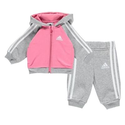 Trening adidas cu dungi Babies roz gri