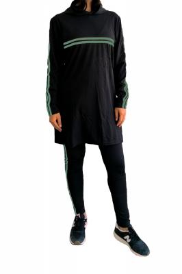 Trening femei j5 fashion twin stripe negru verde