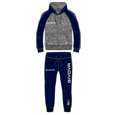 Trening sport TUTA ITALIA UOMO 103 IN FELPA CON CAPP E BANDA Givova gri melange inchis albastru