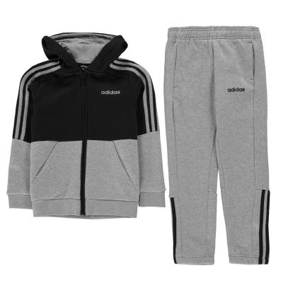 Treninguri adidas Essentials 3-Stripes cu fermoar pentru baieti gri bleumarin