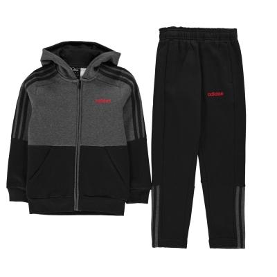 Treninguri adidas Essentials 3-Stripes cu fermoar pentru baieti gri inchis rosu