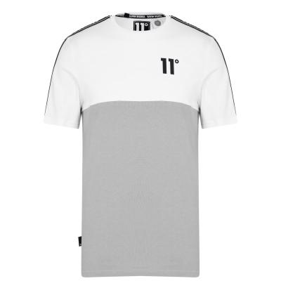 Tricou 11 Degrees Block Taped argintiu alb negru