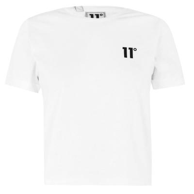 Tricou 11 Degrees Core Cropped alb