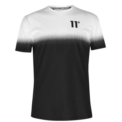 Tricou 11 Degrees Dot Fade negru alb