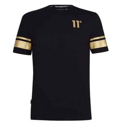 Tricou 11 Degrees doua dungi negru & auriu