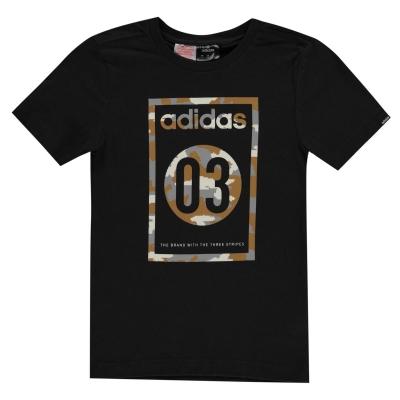 Tricou adidas Camo QT pentru baietei negru gri
