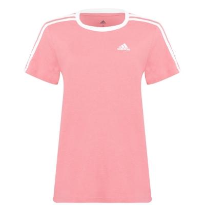 Tricou adidas Essentials 3 cu dungi pentru Femei gri roz