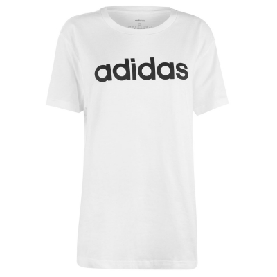 Tricou adidas Essentials Linear Loose pentru femei alb negru