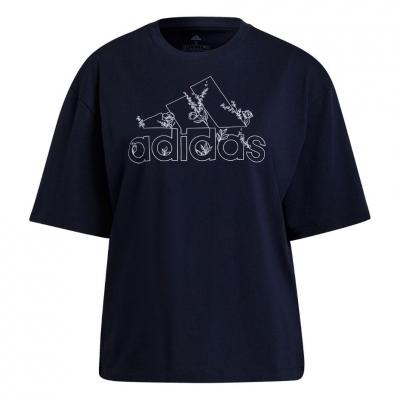 Tricou Adidas Soft Floral Logo bleumarin H14711 pentru femei