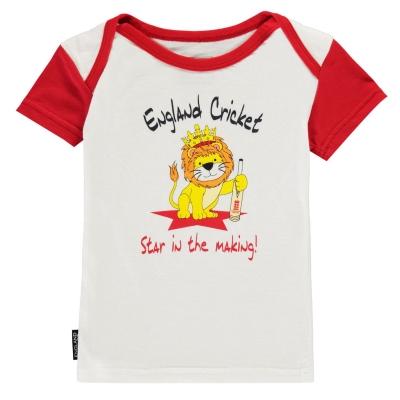 Tricou Anglia Cricket Cricket cu guler rotund pentru Bebelusi alb