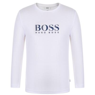 Tricou BOSS Logo Crew pentru baieti pentru Copii alb