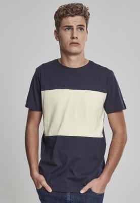 Tricou bumbac contrast bleumarin-galben Urban Classics