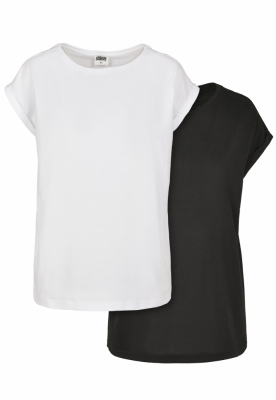 Tricou bumbac organic maneca larga pentru Femei black+white Urban Classics negru alb