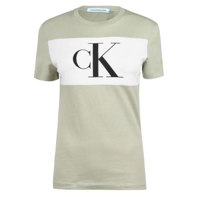 Tricou Calvin Klein Jeans Colour Block maro verde