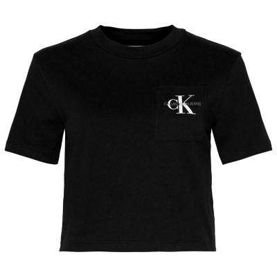 Tricou Calvin Klein Jeans Cropped Mono ck negru