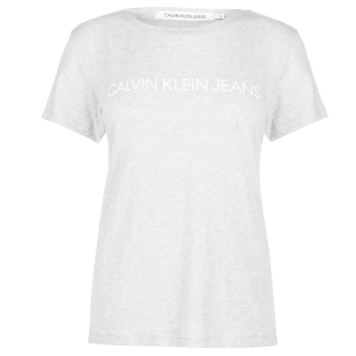 Tricou Calvin Klein Jeans cu guler rotund gri deschis