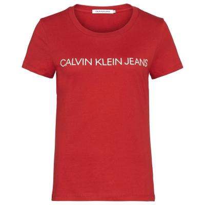 Tricou Calvin Klein Jeans cu guler rotund rosu