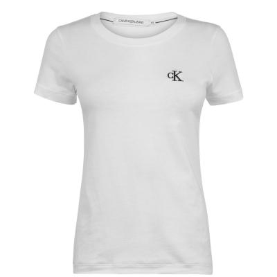 Tricou Calvin Klein Jeans Embroidered Logo Slim Fit bright alb
