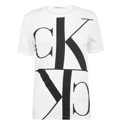 Tricou Calvin Klein Jeans Mono Mirror bright alb