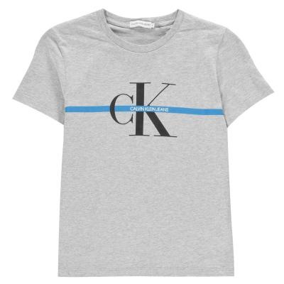 Tricouri Calvin Klein Monogram cu dungi pentru baietei deschis gri