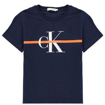 Tricouri Calvin Klein Monogram cu dungi pentru baietei albastru